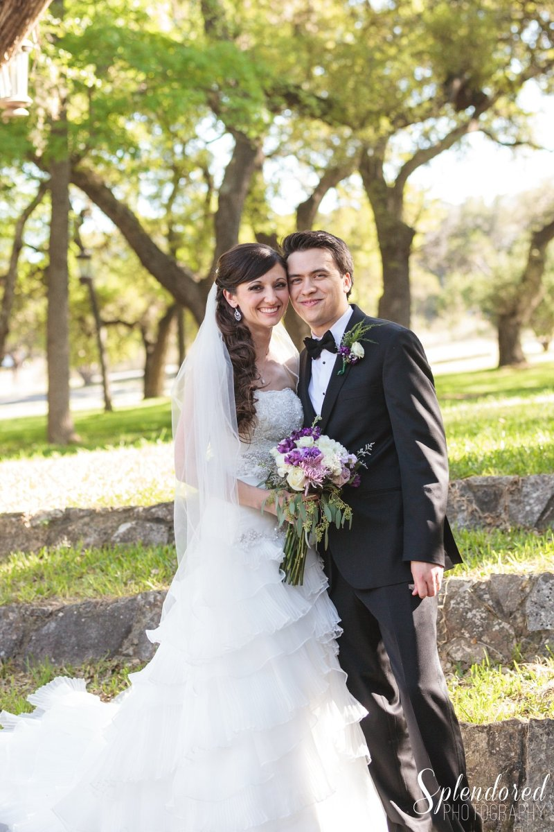 purple and white helotes wedding