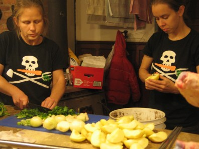 preparing the vegetables for stuffing