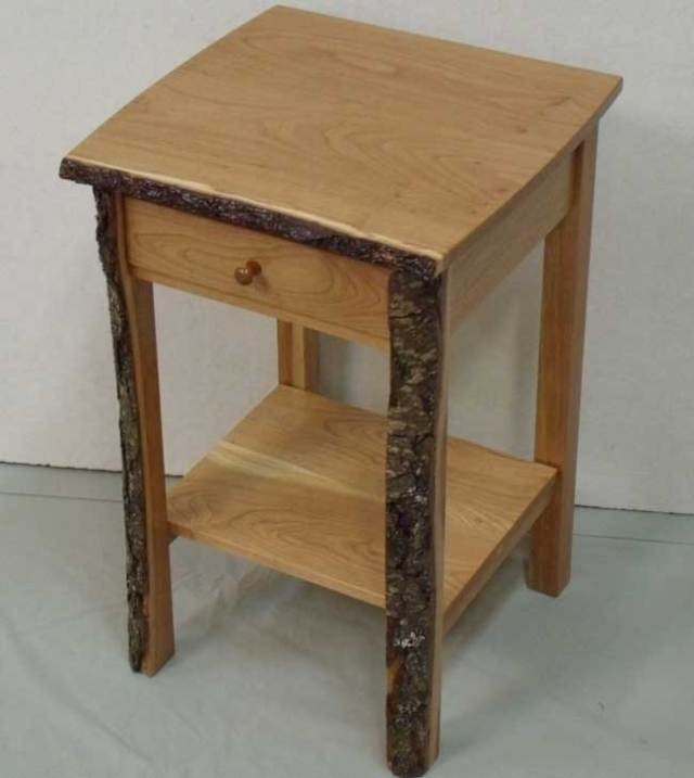 516 Live Edge Cherry Night Stand with Drawer and Shelf
