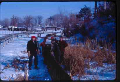 Jim Douglas, Willie Rockwood, Walt Neuhaus, steel piling work