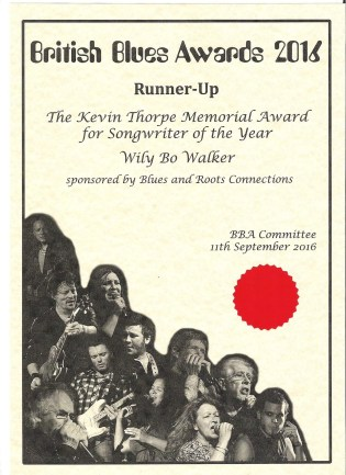 Runner-Up in the Songwriter of the Year category, British Blues Awards 2016