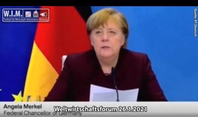 """Great Reset: """"Alles, was die Pandemie eindämmt, ist gut... auch für wirtschaftliche Entwicklung!"""" Wichtigste Aussagen Merkels Weltwirtschaftsforum 26.1.2021"""