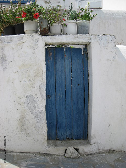 houten deur blauw