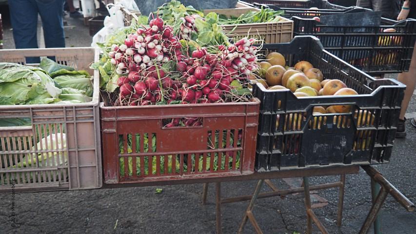 chinese kool, radijs en appels op markt
