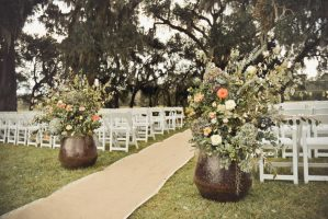 large format flower arrangements provide form to an outdoor space
