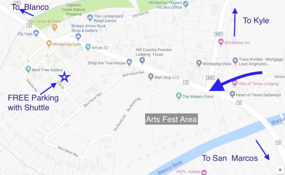 Wimberley Arts Fest Map with Free Parking areas