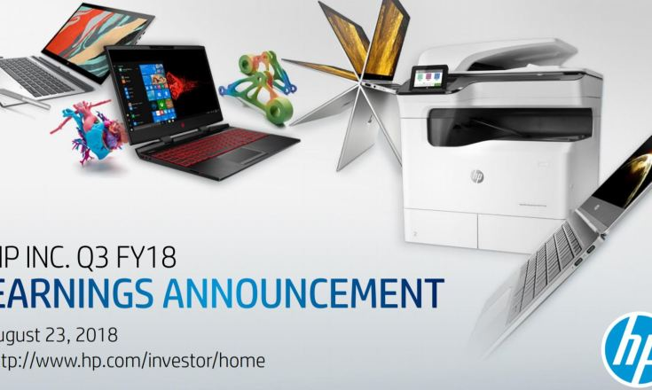 Title slide from HP FY18 Q3 earning announcement.