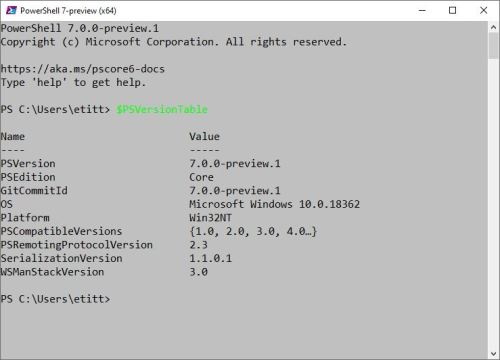 PowerShell V7.0.0-preview.1.info