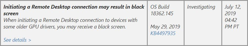 Win10 1903 RDP Connection May Provoke Black Screen – Win10 Guru