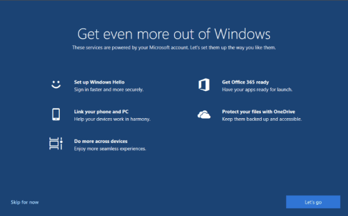Turn Off the 'Get Even More Out of Windows' Screen in Win10.image