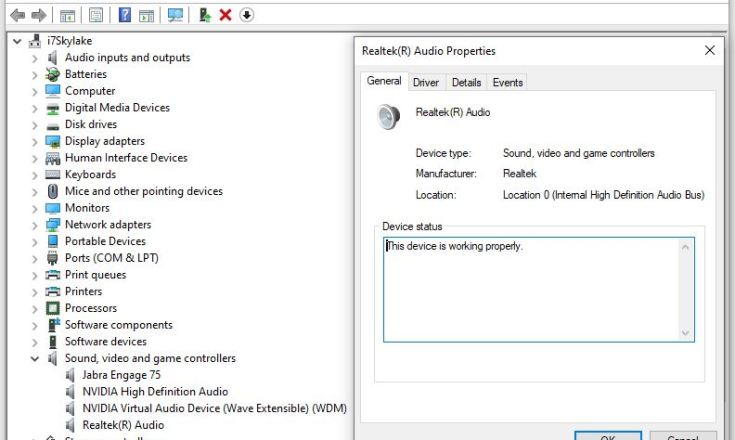 Device Manager showing Realtek UAD driver