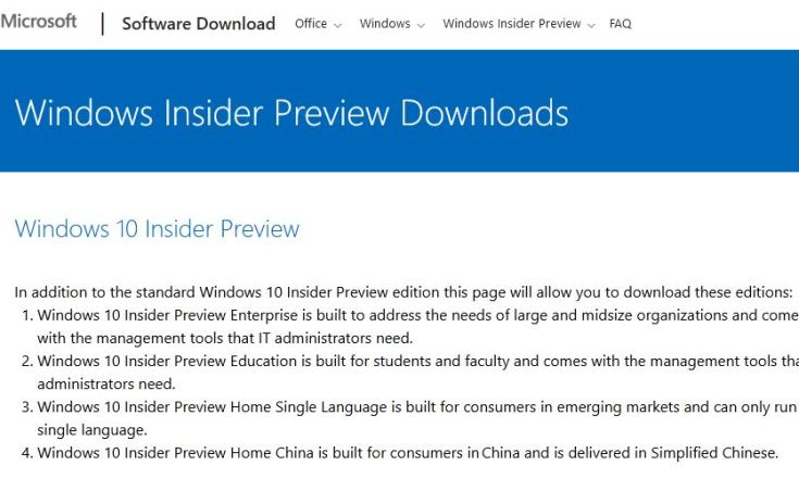 lead-in paragraph at Insider Preview download page. Explains edition available.