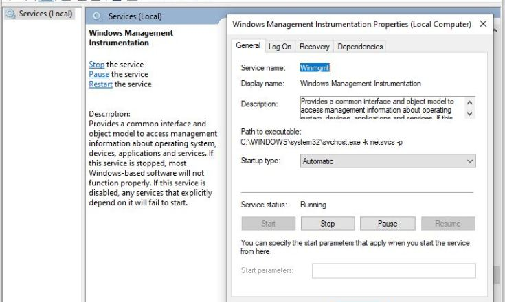 Services.msc with wmi service properties.