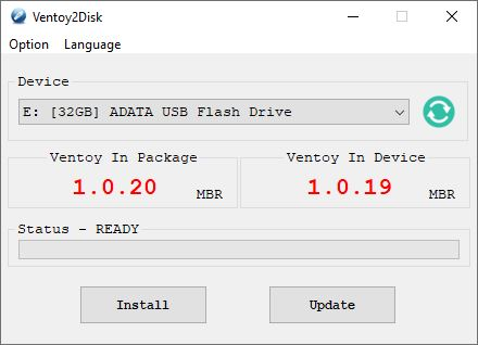 Ventoy2Disk shows V.1.0.20 in the package, and V1.0.19 on the USB, ready for update.