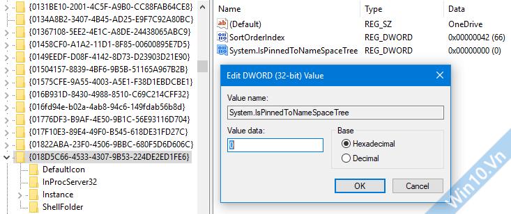 Ẩn One Drive trong menu Sidebar File Explorer