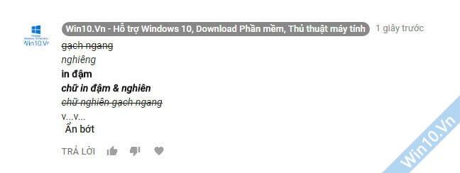 Cách viết chữ in đậm, in nghiêng, gạch ngang trên Comment Youtube, Google Plus