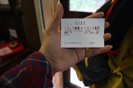 The ticket to Sagano Romantic Train