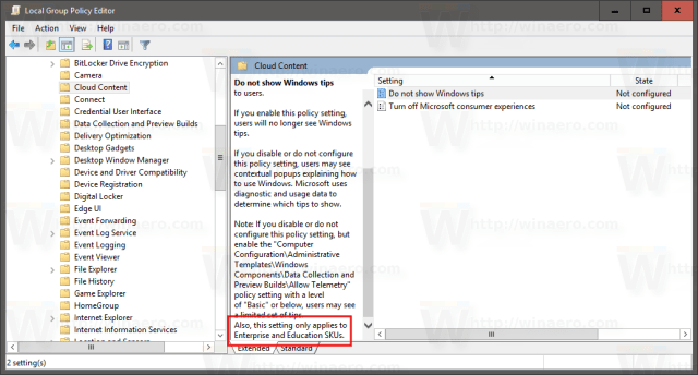 Image Result For Disable Tips Windows Gpo