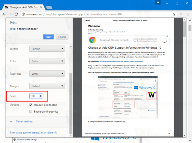 How To Enable Print Scaling In Google Chrome Winaero