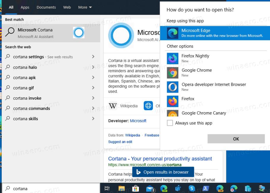 Windows 10 versión 2004 Cortana eliminada