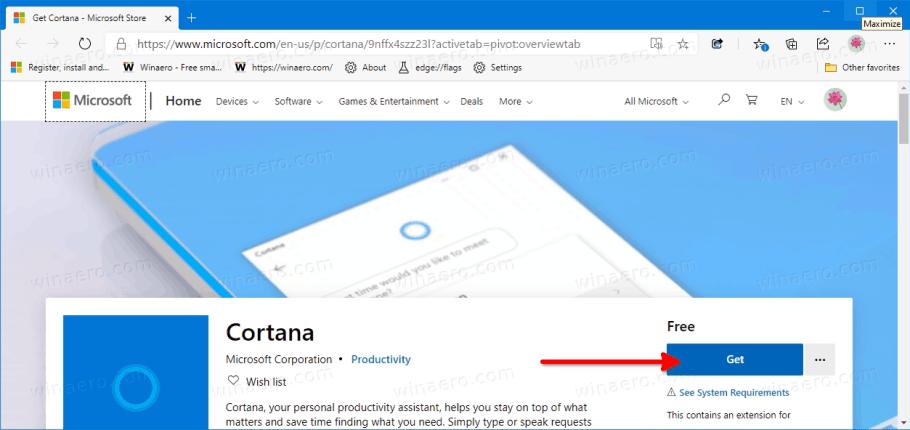 Windows 10 versión 2004 reinstalar Cortana