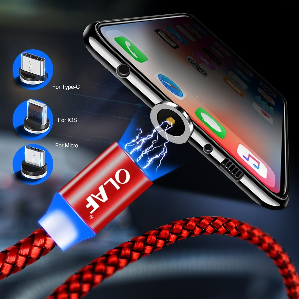 OLAF Magnetic Cable Braided LED Type C Micro USB magnetic usb charging cable for Apple iphone X 7 8 6 Xs Max XR Samsung s9 cord