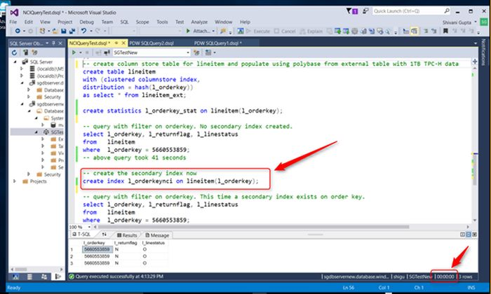 Creating a secondary index on a column store table Image credit: Microsoft