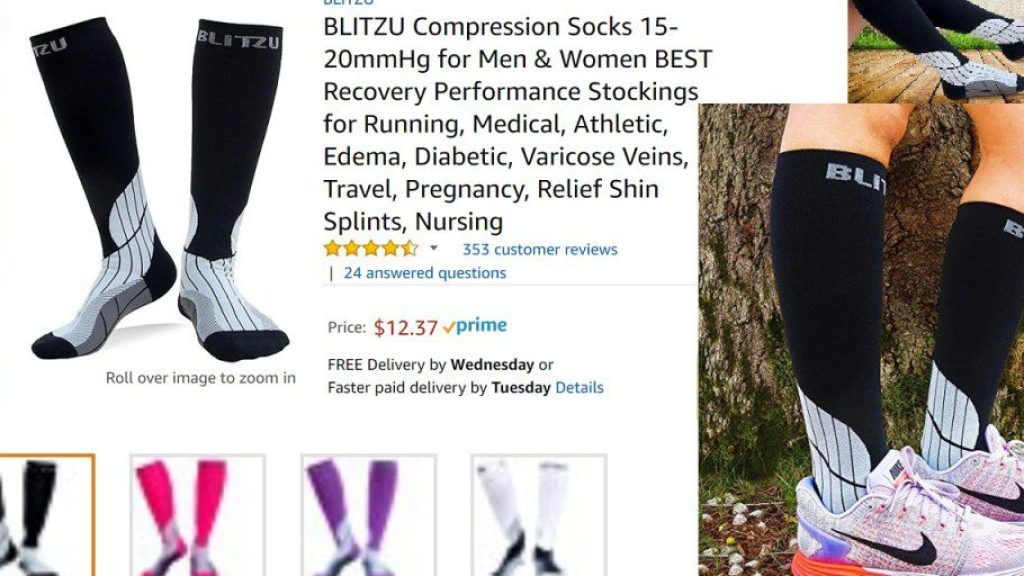 BLITZU Compression Socks 15-20mmHg Recovery Performance Stockings for Running