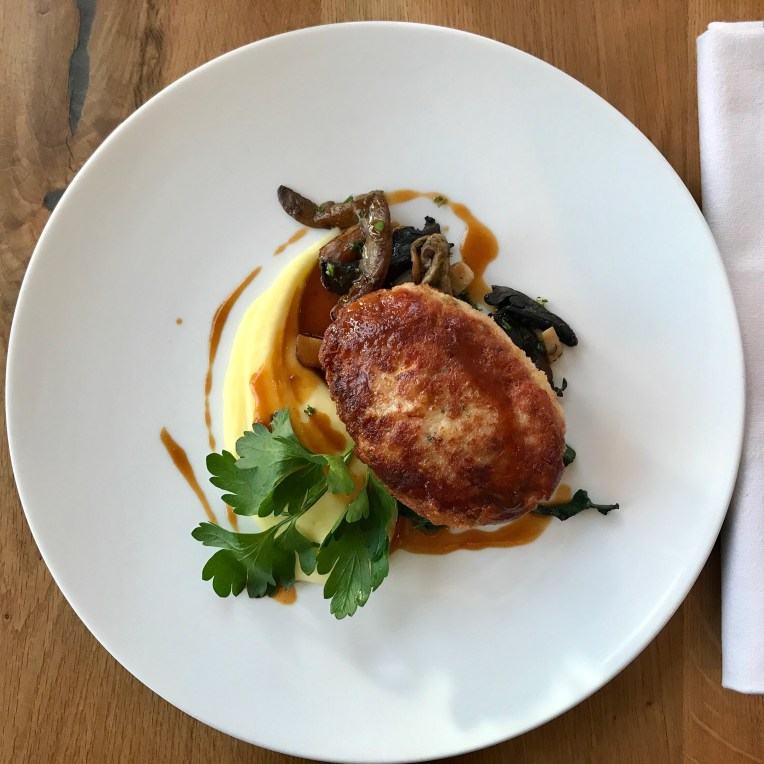 Chicken breast with ham & brie cheese, potato purée, wild mushrooms