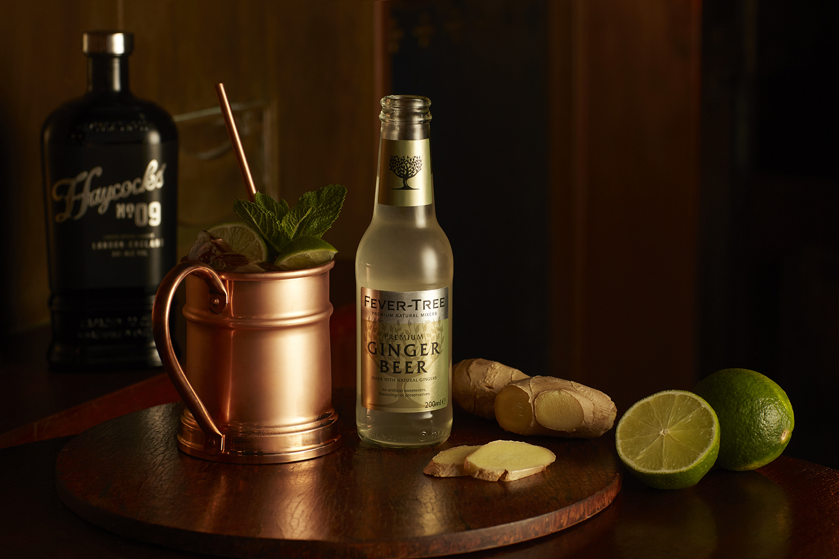 Haycock's No.9 stood on the left with a bronze cup and ginger beer next to it