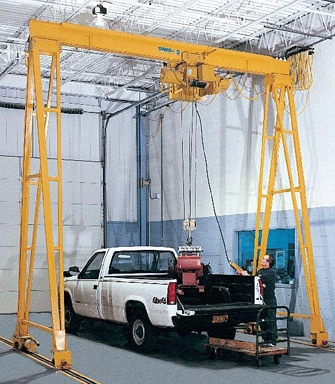 man using gantry crane