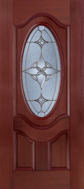 Mahogany 2 Panel 3/4 Lite Oval Deluxe door with Astrid glass