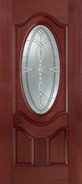 Mahogany 2 Panel 3/4 Lite Oval Deluxe with Aurora glass