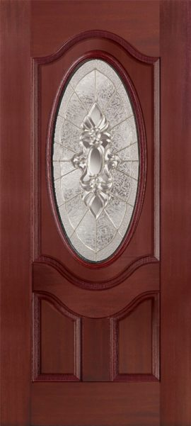 Oak Grain 2 Panel 3/4 Lite Oval Deluxe with Heirlooms glass