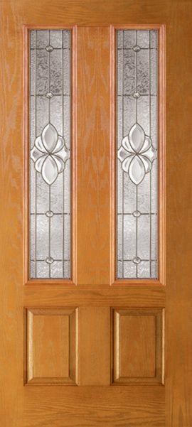 Oak Grain 2 Panel Twin 3/4 Lite with Heirlooms glass