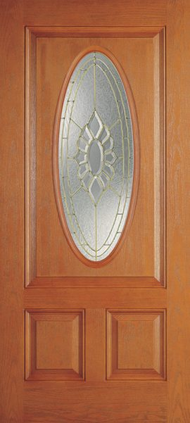 Oak Grain 2 Panel 3/4 Oval Elite with Princess glass