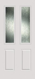 Smooth White 2 Panel Twin 1/2 Lite with Rain glass