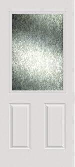 Smooth White 2 Panel 1/2 Lite with Rain glass