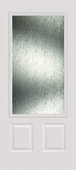 Smooth White 2 Panel 3/4 Lite with Rain glass