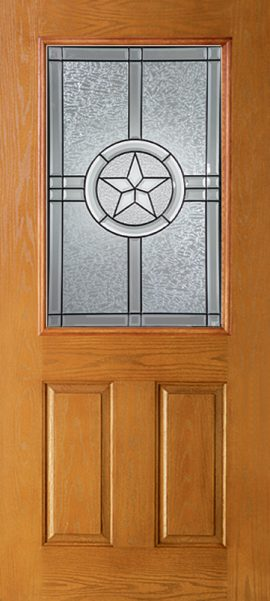 Oak Grain 2 Panel 1/2 Lite with Radiant Star glass