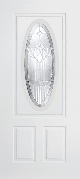 Smooth White 2 Panel 3/4 Lite Oval Elite with Royal Fountain glass