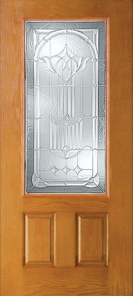 Oak Grain 2 Panel 3/4 Lite with Royal Fountain glass