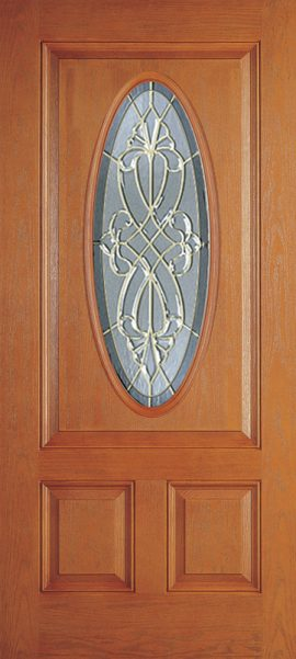 Oak Grain 2 Panel 3/4 Lite Oval Elite with Windsor glass