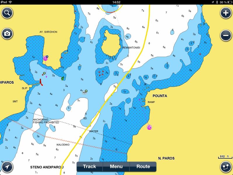 So sieht der Kanal zwischen Antiparos-Paros auf dem Ipad mit Navionics aus