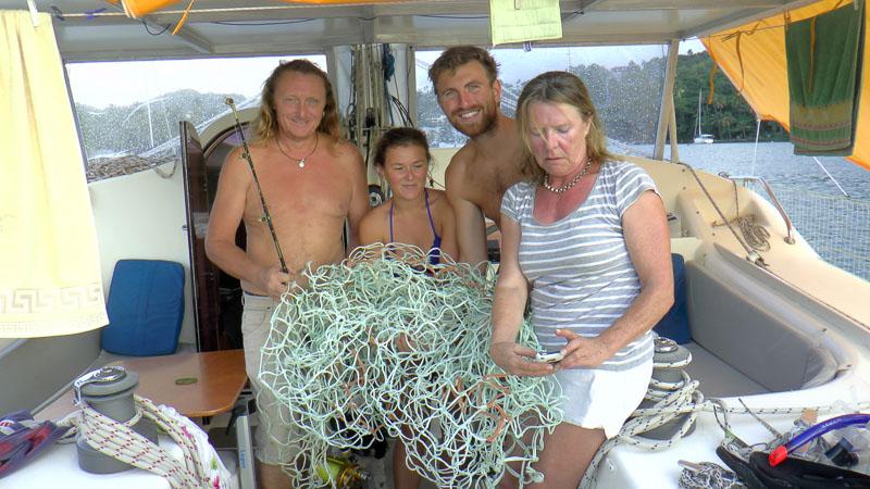 Fang kurz vor der Marigot Bay: Ein Fischernetz.