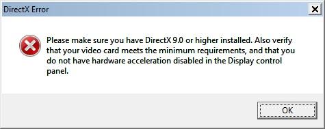 Kritisk DirectX Inkompatibilitetsfeil med Windows-versjonen