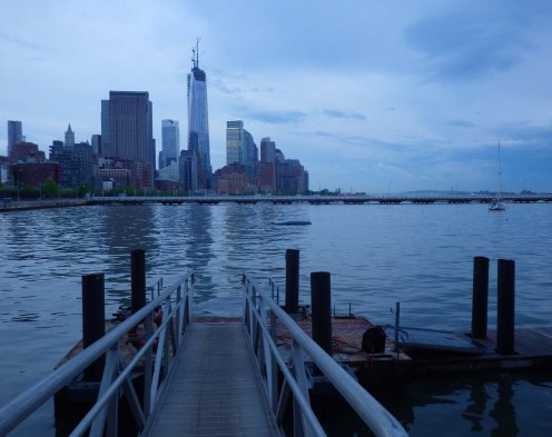 From Pier 40, we look across at the new World Trade Center tower, now almost complete with its spire installed