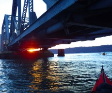 We pass under the bridge out into the Hudson