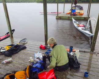 Dinner and boat repair on the Harney River chickee