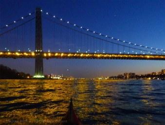 We approach the lights of the George Washington Bridge
